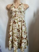 Great Plains Halter Neck Summer Dress Size Medium M 12 Floral 60s Wedding Guest