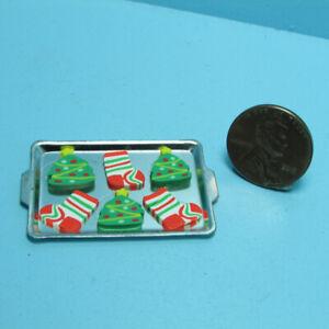 Dollhouse Miniature Christmas Tree & Stocking Cookies on Cookie Sheet