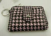 keychain id wallet credit card pink black coin purse zipper