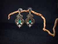 Boucles d'Oreilles Clous Doré Vert Pavé Art Deco Goutte Filigrane Fin Retro B10