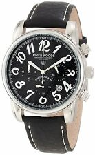 NEW River Woods RWC 2 MBD LB mens Chronograph Date Leather Watch luminious black
