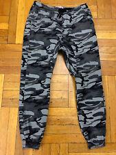 Men Twill Urban Grey Camo camflauge Jogger Pants Slim Fit Sz 36