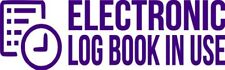 """Set Of 2 PURPLE """"ELog Device in Use"""" Electronic Log Book Decal Sticker Truck ELD"""