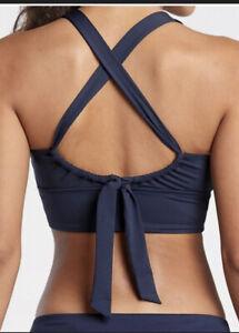 New! ATHLETA D-DD Longline Plunge Bikini Swim Top Dress Blue Medium #530868