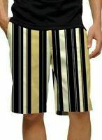 NWT - LoudMouth Golf Men's BARCODE FLAT FRONT Shorts - Khaki Black Striped - 28