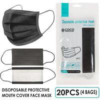 [SHIP FROM USA] Protective Face Mask 20PCS (4x5PCS/BAG) (Black)