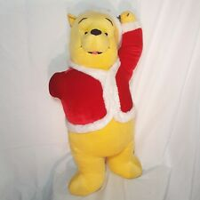 Winnie the Pooh Christmas Door Greeter Disney Santa Claus 25in Plush Teddy Bear