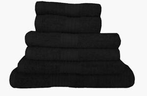 Towel Set 100% Cotton Black Bath Sheet Large Bale 550 GSM Bathroom & 6 Piece Set