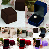 FJ- LC_ Velvet Jewelry Necklace Storage Box Ring Earring Display Case Gift Box P