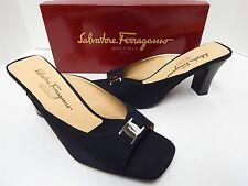 New Salvatore Ferragamo 11 C Rosalba Black Silver Logo Slide Heel Sandals w/ Box