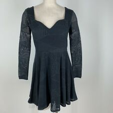 Material girl woman's dress size large black knit lace