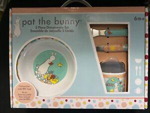 Pat the Bunny 5 Piece Child Melamine Dinnerware Set-NEW