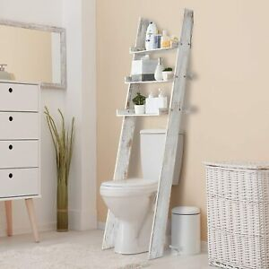 MyGift 3 Tier Whitewashed Wood Over The Toilet Leaning Bathroom Ladder Shelves