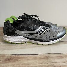 Saucony Ride 10 Mens Running Shoes Silver Black Green Size 9.5 Sneakers