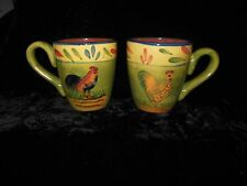 Style Eyes Baum Brothers Rooster Mugs Set of 2 Green Yellow Blue