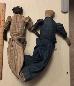 Antique Homemade Primitive Rag Doll Black and White