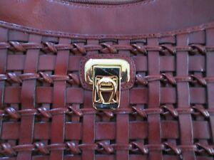 Vintage Woven Leather ETIENNE AIGNER Handbag / Purse  Signature Burgundy Color