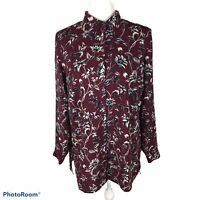 J Jill Blouse Dark Red Floral Long Sleeve Button Front Tunic Ladies Size Small