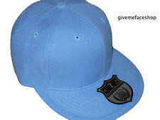 Sky blue fitted cap Ethos, plain flat peak hip hop urban street brim size 6-8