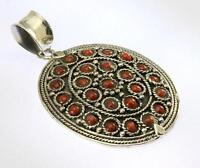 CORAL PENDANT 925 STERLING SILVER ARTISAN JEWELRY COLLECTION R723A