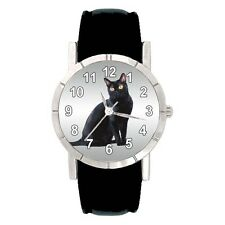 Bombay Cat Mens Womens Water Resistant Genuine Leather Band Wrist Watch SA2434