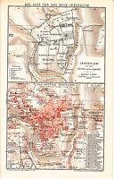 1899 Israel Palestine JERUSALEM & Outskirts Old & New City CITY PLAN Antique Map