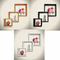 Set of 3 Connected Cube Floating Wall Shelves CD DVD BOOK Storage Display Shelf