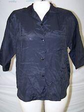 Casa Blanca Black Button Front Collared Slit Top Womens Size Medium 8 10