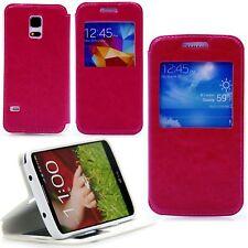 Samsung Galaxy S5 mini Klapp Tasche Case Schutz S-View Window Flip Hülle Pink