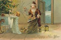 NEW YEAR - Santa Has Toys For Girl A Happy New Year PFB Postcard - 1908