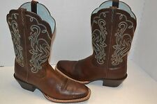 ARIAT LEGEND ROWDY BROWN LEATHER SQUARE TOE 6.5 B COWBOY WESTERN BOOTS 15825