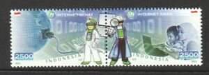 INDONESIA 2011 INTERNET SECURITY CAMPAIGN SE-TENANT COMP. SET OF 2 STAMPS MINT