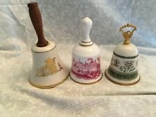 set of 3 bells Danbury Mint Pickard China gold lion wooden handle, Usa 5.5 in.