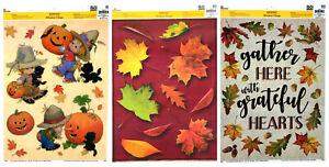 Lot of 3 Harvest Window Clings Fall Autumn Thanksgiving Scarerow Boys Pumpkins +