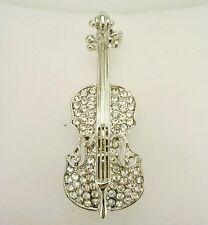 "Joan Rivers Pave Violin Brooch   2""  silver tone"