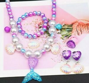 5Pcs Kids Girls Mermaid Necklace Bracelet Set Gift