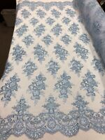 Floral Shiny Sequins - Baby Blue - Embroidered Lace Fabric Sold By Yard