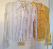 Set of 2 Ladies Blouse Lace Top Shirt GOGO FASHION White & Yellow  Size S ~ NWT
