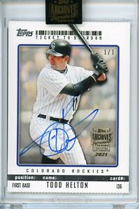 TODD HELTON ~ 2021 Topps Archives ~ #1/1 AUTO Autograph ~ 2009 Topps #136