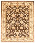 """Vintage Hand-knotted Carpet 8'2"""" x 10'1"""" Traditional Dark Brown Wool Area Rug"""