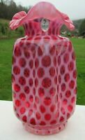 "Fenton Glass Cranberry Opalescent Baby Coin Dot Pinch Vase  8.25""H NIB"