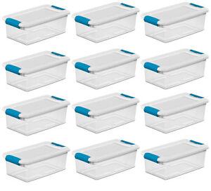 1-12 pc Sterilite 6-Quart Clear Storage Box Container w/ blue Latches white Lid