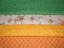 4 FQ Bundle – ORANGE YELLOW GREEN Prints 100% Cotton Quilt Fabric Fat Quarters