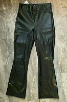 NWT Zara Black Faux Leather Ankle Flared Leggings Size Small