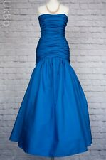 Vintage Genuine 1980s Dress Evening Gown Blue John Charles 8-10 Fishtail & Bow
