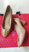 Tory Burch Classic Leather Pumps Nude Beige Block High Heels Size 7