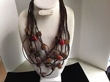 """Wood Bead Necklace Multi Color 26"""" Long"""