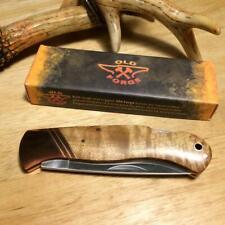 Old Forge Burl Wood Lockback Copper Bolster 4 1/4