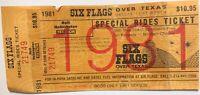 Six Flags Over Texas 1981 Park Rides Ticket Collectible Souvenir Amusement Park
