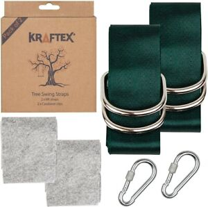Kraftex Tree Swing Straps 2 Pack 6ft Long, Adjustable Straps with 2 Heavy Duty